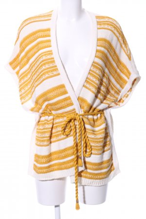 Promod Knitted Poncho dark yellow-natural white striped pattern beach look