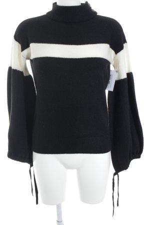 Promod Strickpullover schwarz-wollweiß schlichter Stil