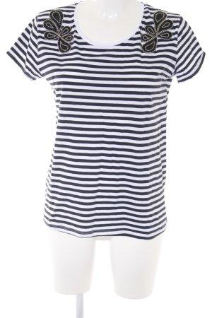 Promod T-Shirt dunkelblau-weiß Streifenmuster Casual-Look