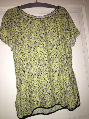 Promod T-Shirt gelb grau Blumen Gr. 38