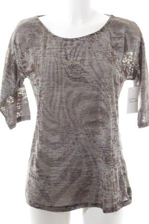 Promod T-Shirt khaki-olivgrün abstraktes Muster Street-Fashion-Look