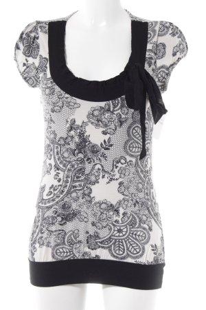 Promod T-Shirt schwarz-weiß abstraktes Muster Casual-Look