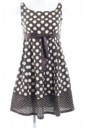 Promod Trägerkleid dunkelbraun-creme Punktemuster klassischer Stil