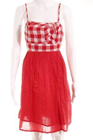 Promod Trägerkleid weiß-rot Karomuster Casual-Look