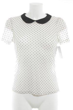 Promod Transparante blouse wit-zwart gestippeld patroon zakelijke stijl
