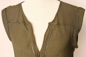 Promod Tunika Bluse 40 l grün Khaki oliv gold metallic
