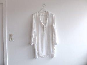 Promod Tunika Bluse Vokuhila Gr. 40 38 M weiß silber mao Kragen Langarm