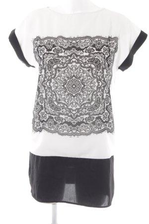 Promod Tunikabluse wollweiß-schwarz Ornamentenmuster Casual-Look