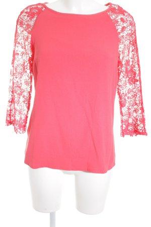 Promod Camisa de cuello barco rojo claro Apariencia de mezcla de materiales