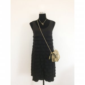 Promod Volant Hängerchen Kleid schwarz M 38 40 Minikleid schickes Trägerkleid