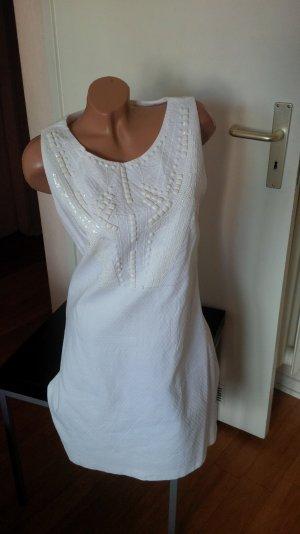 Promod, weißes Sommerkleid, mit Perlen- und Palliettenapplikationen, Gr. 42