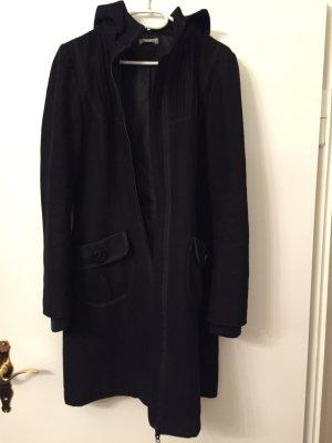 Promod: Wollmantel mit Kapuze, schwarz, Größe 38