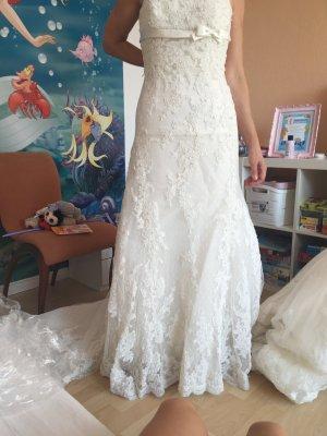 Pronovias Vestido de novia blanco tejido mezclado
