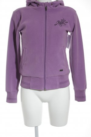 Protest Fleece Jackets mauve-grey violet embroidered lettering athletic style