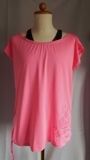 Protest, Trainings-Funktionsshirt mit angedeutetem Top,Bedruckung,Raffung,helles pink,Gr 46
