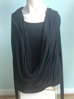 Cowl-Neck Top black cotton