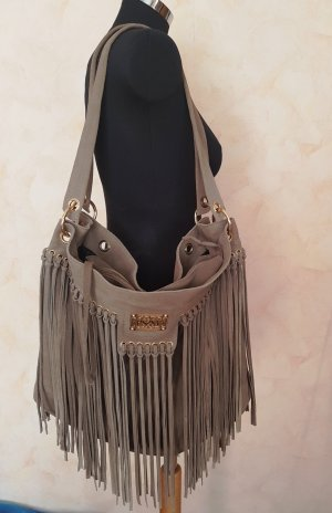 Fringed Bag grey brown imitation leather