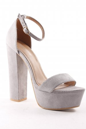 Public Desire High Heel Sandaletten hellgrau klassischer Stil