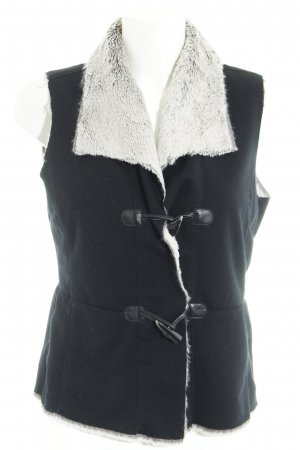 Public Fur vest black-oatmeal fluffy