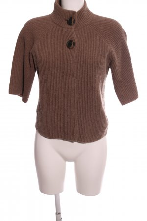 Public Short Sleeve Knitted Jacket brown cable stitch casual look