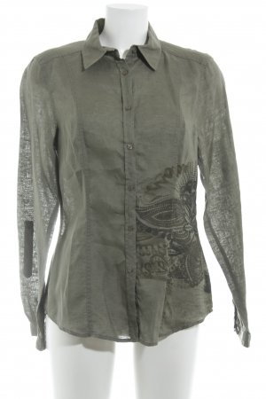 Public Langarm-Bluse khaki abstrakter Druck Casual-Look