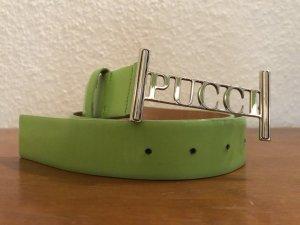 Pucci Gürtel grün mit Schriftzug Schnalle