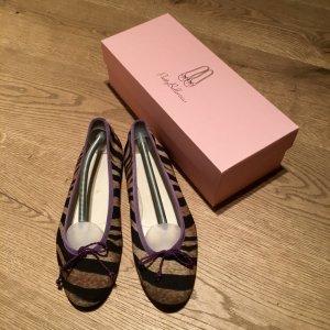 Andrea Puccini Ballerine à bride arrière violet foncé-bleu violet