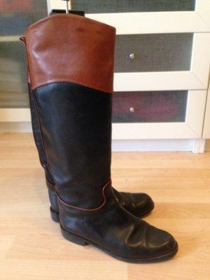 Botas estilo militar negro-marrón Cuero