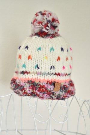 Bonnet à pompon multicolore tissu mixte