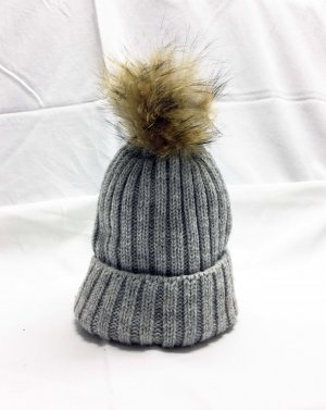 Bobble Hat light grey-grey mixture fibre