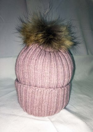 Bobble Hat dusky pink-pink mixture fibre