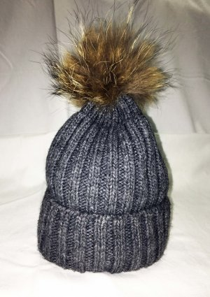 Bobble Hat grey-dark grey mixture fibre
