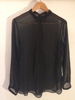 Zara Basic Transparante blouse zwart-wit
