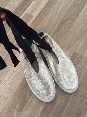 Pull & Bear Strappy Ballerinas gold-colored-black