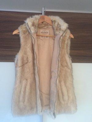Pull & Bear Chaleco de piel marrón claro-marrón