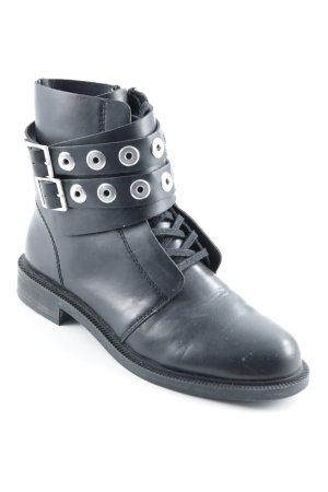 Pull & Bear Ankle Boots schwarz Biker-Look