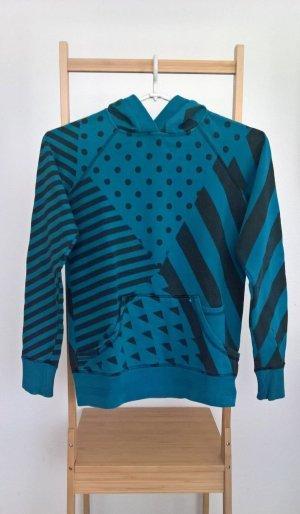 Pull&Bear® Blau/Schwarz Geometrische Muster Pullover, Größe: M