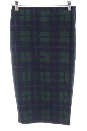 Pull & Bear Bleistiftrock dunkelgrün-dunkelblau Karomuster Business-Look