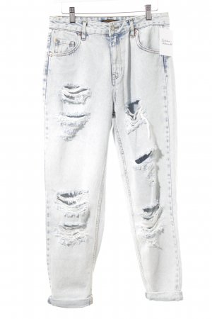 Pull & Bear Boyfriend Jeans natural white-steel blue flecked distressed style