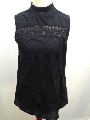 Pull & Bear Ruche blouse zwart Katoen