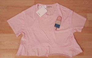 Pull & Bear - cropped rosa Shirt mit Pailettenapplikation - Gr. S - NEU