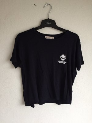 Pull & Bear Cropped Shirt white-dark blue