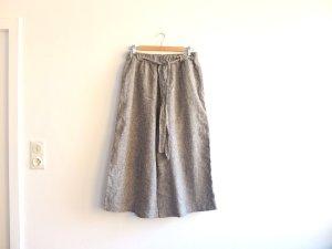 Pull&Bear Culottes Gr. L 40 grau nude gestreift Leinen High waist Hosenrock