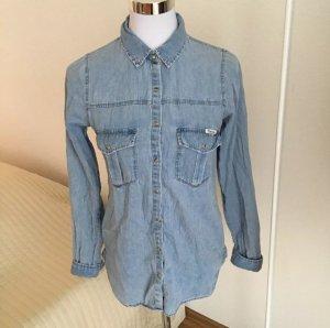 PULL & BEAR Damen Jeanshemd Denim Bluse S 36 34 hell blau ASOS Blogger Preppy