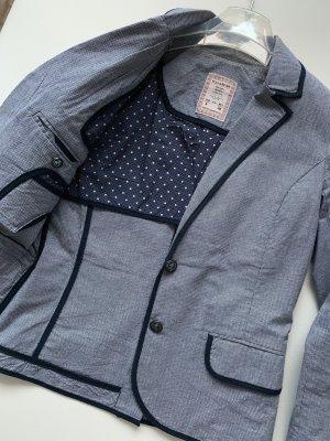 Pull & Bear Blazer de esmoquin azul oscuro-blanco