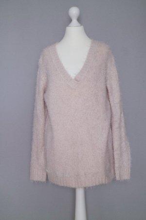 Pull & Bear Flauschiger Pullover Gr. S V-Ausschnitt rosa rosé