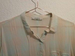 Pull & Bear Hemd Bluse Pastellfarben kariert Rosa Hellblau - Größe L - wie Neu