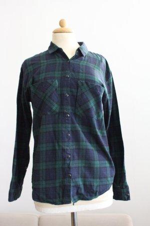 Pull & Bear Flanellen hemd donkerblauw-cadet blauw Katoen
