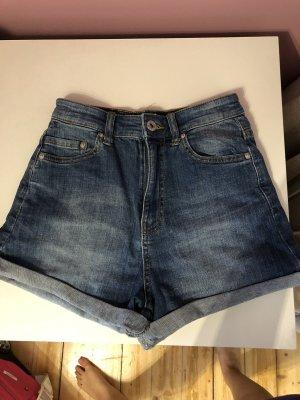 Pull & Bear Short taille haute bleu foncé