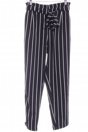 Pull & Bear High Waist Trousers black-white star pattern casual look
